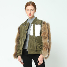 OFTBUY 2017 new parka bomber jacket winter jacket women real fur coat parkas raccoon fur and rabbit fur sleeve cotton liner(China)