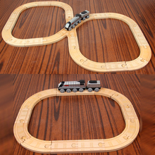p134 free shipping Entry-level wooden train track set train puzzle toy compatible Thomas train wood track children's toys gift(China)