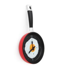 TFBC Frying Pan Clock with Fried Egg - Kitchen Cafe Wall Clock - Red Yellow Blue Green