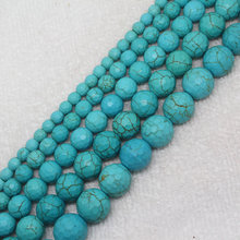 "Mini. Order is $7! 4-14mm Faceted Blue Turquoises Round stone DIY Jewelry Making loose beads 15""(China)"