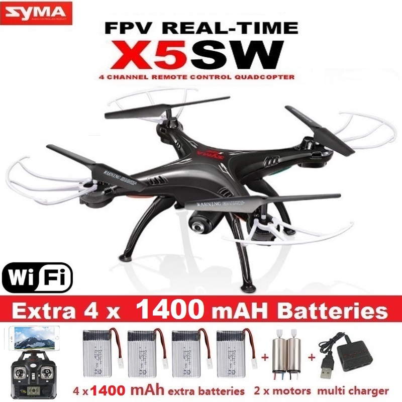 Upgrade WiFi Camera Real Time Video RC Quadcopter 2.4G 6-Axis SYMA X5SW FPV Drone X5C Quadrocopter 5 Battery