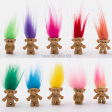 5pcs/lot Colorful Hair Troll Doll Happy Love Family Members Daddy Mummy Baby Boy Girl Leprocauns Dam Trolls Toy Gifts For Kids