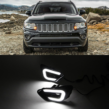 Car Flashing For Jeep Compass 2011 2012 2013 2014 2015 2016 LED DRL Day Light Daytime Running Light Fog Lights with Turn Light(China)