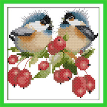 The chatted birds on purple-red flowers Canvas DMC Counted Cross Stitch Kits printed Cross-stitch set Embroidery Needlework(China)