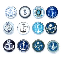 12pcs/lot Sailing Anchor Pattern Charms 18mm Glass Snap Button For DIY Charms Bracelet 18mm Snaps Jewelry KZ0178(China)