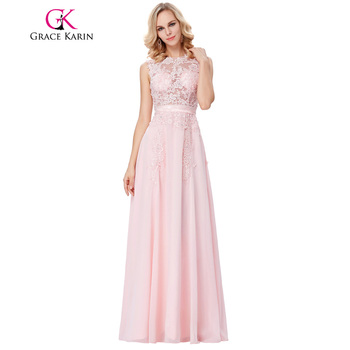 Grace karin vestidos de noche largos 2017 sexy apliques de encaje rosa de gasa sin mangas de ver a través vestido de fiesta vestidos de noche formales