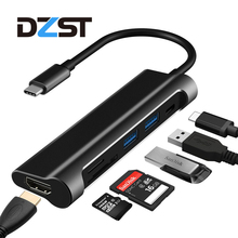 DZLST USB C 3.1 Type C to USB 3.0 /HDMI/ SD TF Card Reader/PD USB HUB 6 in 1 USB C Adapter 1080P 60Hz/4K 30Hz for MacBook Pro(China)