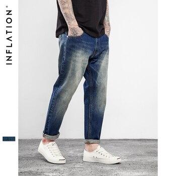 L'INFLATION 2017 Nouveau Arrivels Rouge Oreille Denim Pantalon Dixièmes pantalon longueur Hip Hop Planche À Roulettes Jeans Pour Hommes