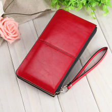 Famous brand Oil wax leather Women clutch wallet Long zipper wallets female candy color purse lady Multi-function phone bag