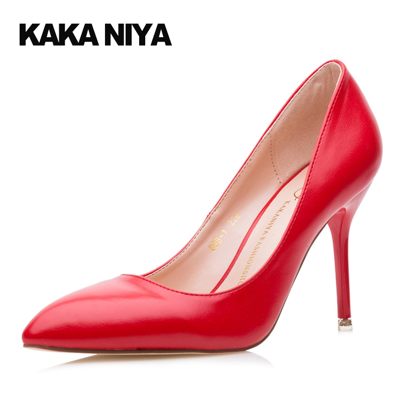 Pointed Toe Winkle Picker Pumps Shoes Scarpin White 2017 Red Stiletto Office 4 34 Small Size 9cm Inch Women High Heels Shallow<br>