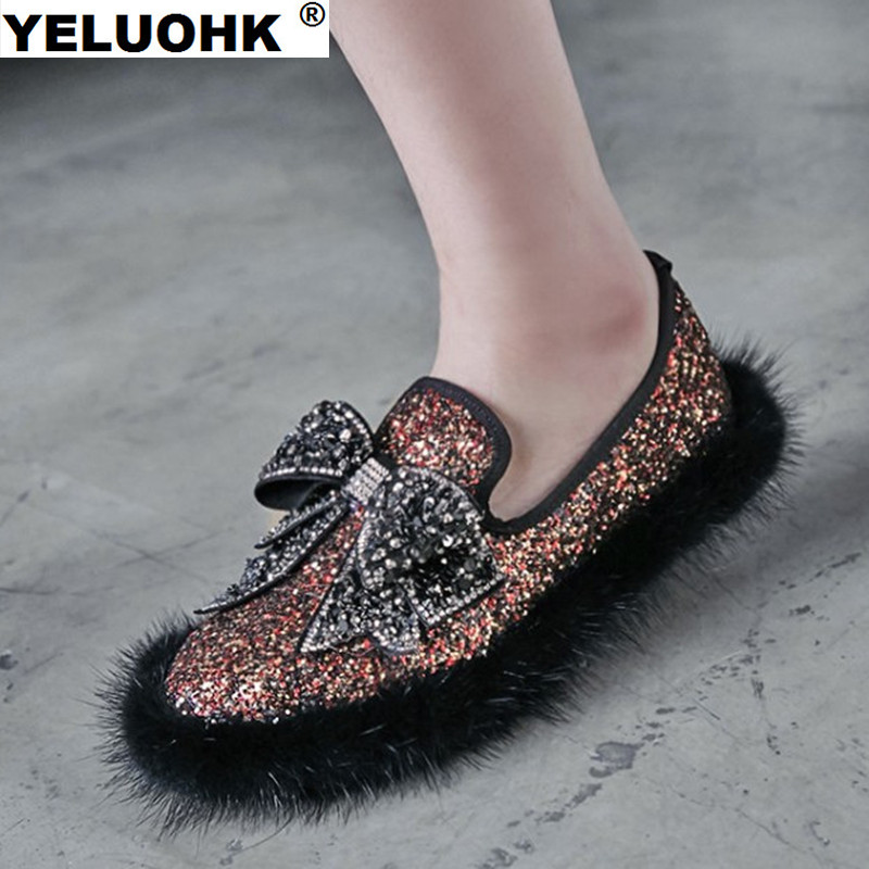 2017 Butterfly Winter Shoes Women Flat Fashion Glitter Ladies Shoes With Fur Warm Handmade Shoes For Woman Big Size<br>