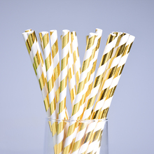 25pc Eco-friendly Metallic Gold Stripe Paper Straws Christmas Party Wedding Decoration Biodegradable Drinking Straws Baby Shower(China)