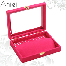Hot Pink necklace display Box jewelry box cover glass pendant receive case fine necklaces organizer box jewelry display A212-1(China)