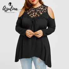 AZULINA Crochet Lace Insert Plus Size Tunic T-Shirt 2018 Women T Shirt Casual Clod Shoulder Long Sleeve Ladies Tops Clothes 5XL(China)