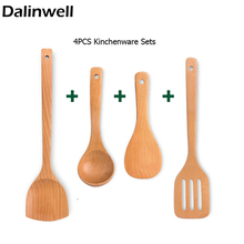 4PCS/Set Non - Stick Food-Grade Beech Wood Kitchen Slotted Spatula Spoon Dinner Food Rice Scoop Shovels Cooking Utensils Tool(China)