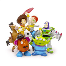 "6PCS/Set 2""-4"" Toy Story Party Buzz Lightyear Woody Jessie Green Man PVC Action Figures Kids Toys Collections(China)"