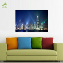 Modern Melamine Sponge Board Canvas Painting Beauty Hong Kong City Nightview Single Picture Unframed Living Room Wall Art Paint