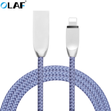 OLAF Nylon 8 Pin USB 2.1A Fast Charger Metal Nylon Braided Sync Data USB Cable For iPhone 5 5s 6 6s 7 plus iPad Phone Cables