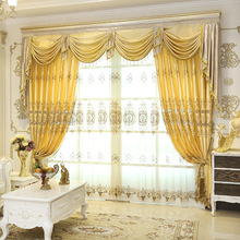 European luxury golden shade curtains for bedroom curtains modern high quality simple embroidery curtain for living room(China)
