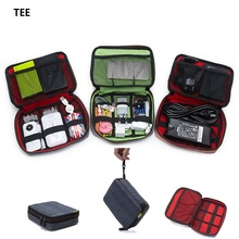 "TEE Portable Zipper laptop charger Cable Case Bag Pouch Protector For 2.5"" WD Seagate HDD Hard Disk Drive RED INSIDE"