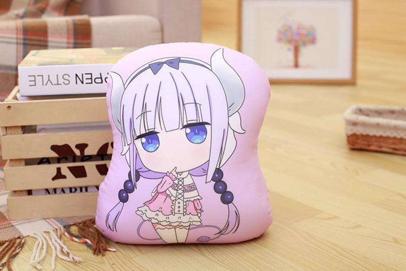 Miss Kobayashi's Dragon Maid Cosplay Kanna Kamui Plush Doll Toy Pillow Soft Cute Dragon Stuffed Cushion Gift Two-side 32x30cm (5)