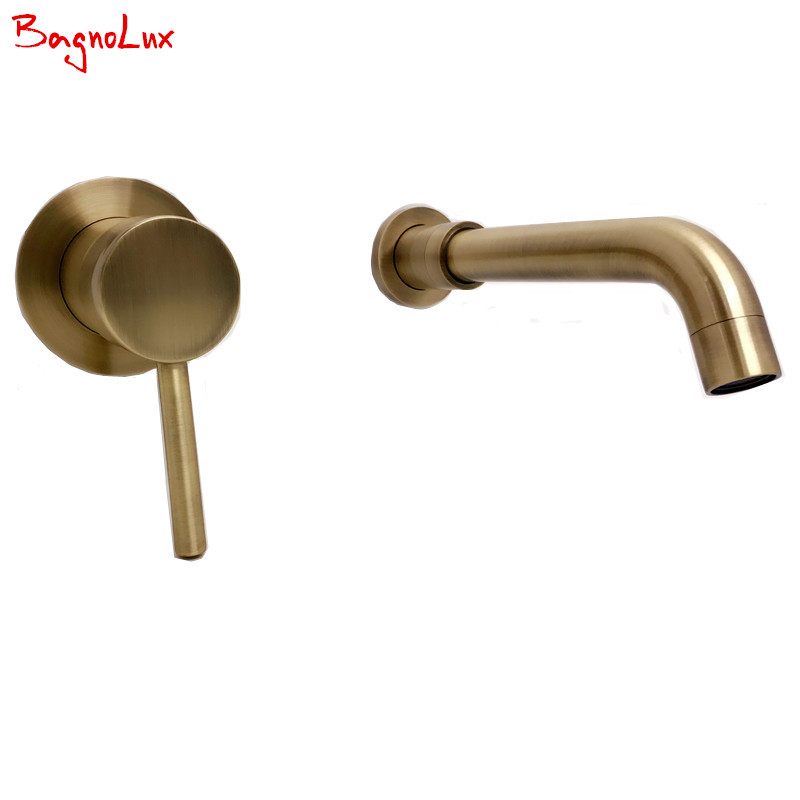 High Quality Round 2 Hole Wall Sink Basin Mixer Tap Wels Bathroom Spout Faucet With Single Lever In Antique Green Brushed Bronze(China)
