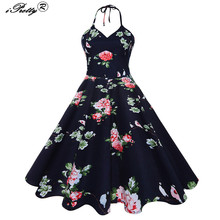 Buy 2017 Sexy Women Vintage Robe Sexy Halter Retro Dress Floral Print Backless Swing Tunic Elegant 50s 60s Party Rockabilly Dresses