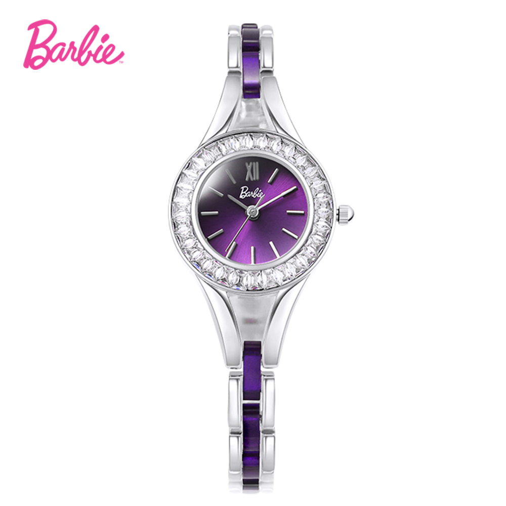 Barbie wrist watches for women anti-magnetic watch fashionable round shape case and simulated-ceramics clasp quartz watch<br>