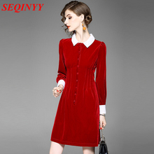 Italy Red Velvet Dress 2017 Autumn Women Contrast Crochet Lace White Collar Front Button Through Super Star Slim Mini Dress