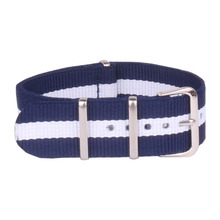 Buy 2 Get 10% OFF) 16mm Navy White Military nato fabric Woven Nylon watchband Strap WAtch Band Buckle belt 16 mm accessories(China)