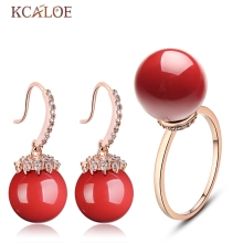 KCALOE Red Big Round Ball Earrings Fashion Jewelry Set Rose Gold Color Crystal Cubic Zirconia Wedding Jewellery Sets For Women(China)