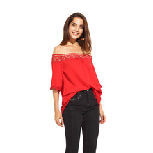 Apparel Casual Sweet Contrast Women Tops Red Crochet Insert Off Shoulder Chiffon Blouse Sexy Cut Out Slash Neck Shirt TA02800017