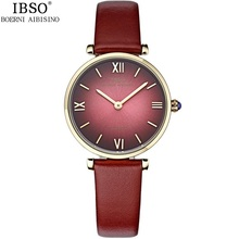 Simple IBSO Brand Ladies Watches Japan Quartz Movement with Genuine Leather Belt Wristwatches 30m Water Resistant Multi Colors