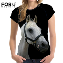Buy FORUDESIGNS Women T shirt crazy horse printed short sleeve o-neck summer fashion tees ladies streetwear casual tops camiseta new for $14.99 in AliExpress store