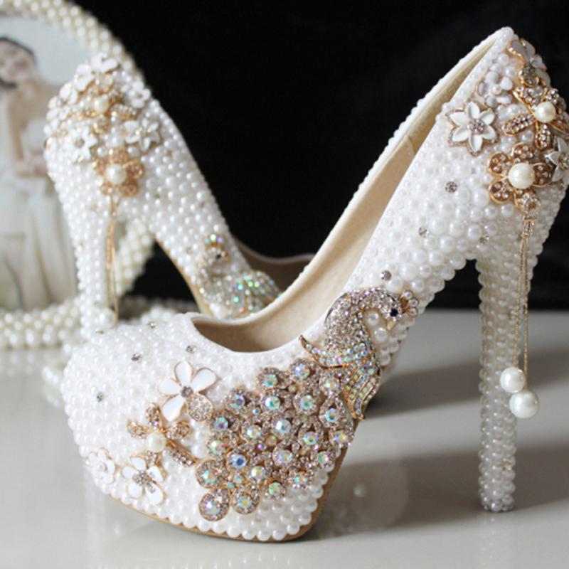 Fashion 2017 High Heel Wedding Shoes Pearl Rhinestone Women Shoes Wedding Shoes Genuine Leather Crystal Shoes<br><br>Aliexpress