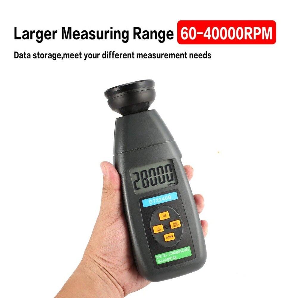 DT2239B Digital LCD Non-Contact Flash Stroboscope Tachometer Photoelectric Revolution Meter Speedometer Tester 60~19999RPM