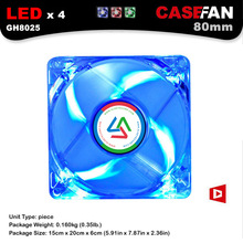 ALSEYE 80mm LED Fan Cooler, 3pin & Molex 4D 12V 2200RPM 8cm Transparent Silent Cooling Fans (3 Color available)(China)