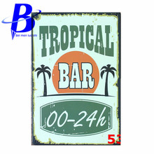 "Plaque Metal Vintage ""Tropical Bar"" Vintage Metal Signs Wall Stickers  Bar Signs Pub Bar Decoration Beer Tin Signs Retro"