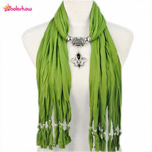 AOLOSHOW Fashion Pendant Jewelry Necklace Scarfs for Women butterf drop pendant scarf necklace with beads tassels NL1791