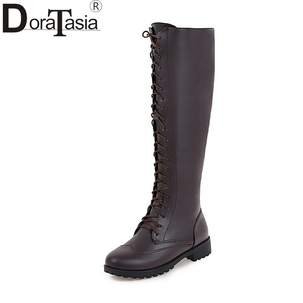 DORATASIA 2018 Large Size 33-43 Lace Up Square Heels Platform Winter Boots Women Shoes Woman Short Boots Add Fur Booties