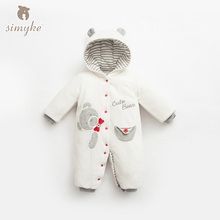 Simyke Winter Baby Embroidered Rompers Clothes Long Sleeve Babys Boy Thick Warm Jumpsuit Infant Baby Girl Clothing Toddler W2005(China)