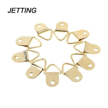 JETTING 10Pcs Wholesale Universal Strong Golden D Rings Decor Picture Frames Hanger Hooks Hanging Triangle Screws Helper(China)