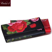 Contact's 2017 NEW Women's Wallet Genuine Leather Floral Print Long Ladies Purses Fashion Black Red Clutch Wallets Card Holder(China)