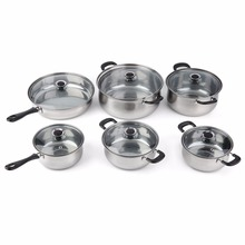 12Pcs/Set Heat & Break Resistant Stainless Steel Pot Cooker Set Cook Cookware set Pan Easy Cleaning and Care With Pot Cover