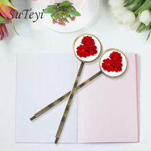 SUTEYI Charm Roses heart shape Print Glass Cabochon Hairpins for Girls Women Simple Hair decoration clip Accessory Handmade(China)