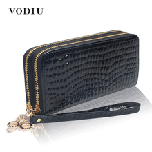 2017 Luxury Patent Crocodile Leather Double Zipper Women Brand Long Wallet Female Wristlet Clutch Purse Chain Phone Card Holder(China)