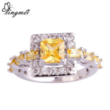 lingmei Pretty Style Twinkling Princess Citrine White  Silver Color  Ring Size 6 7 8 9 10 Women Jewelry Wholesale Free Shipping