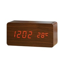New Mini Voice Control Wooden Clock Electronic Digital Clock LED Alarm Clock Multifunctional Time Date Temperature Display Clock