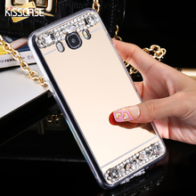 KISSCASE J5 2016 Luxury Mirror Cover Fashion Bling Crystal Diamond Mobile Phone Case For Samsung Galaxy J5 2016 J510 J510F Women