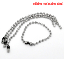 "Doreen Box Lovely 100PCs Silver Tone Connector Clasp Ball Chains Keychain Tag 10cm(3 7/8"") (B19901)"